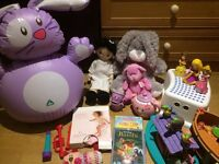 Bundle of toys, Noah Ark Fisher Price & Wooden Train, 3 CDs, Bath toys and Kids Ikea step stool