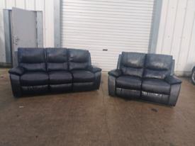 Black faux leather 3+2 recliner sofas couches suite 🚚🚚