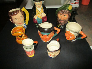 Vintage/ Antique Lot of 8  various Toby Mugs