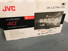 "New smart tv 40"" JVC 4k ultra hdr"