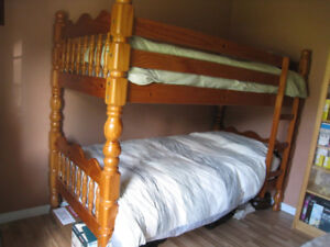BUNK BEDS, SOLID PINE, HEAVY DUTY.