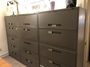5 Drawer Lateral Filing Cabinets (Grey) - Great Condition