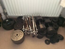 Cast Iron weights and bars.