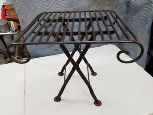 Folding wrought iron side table