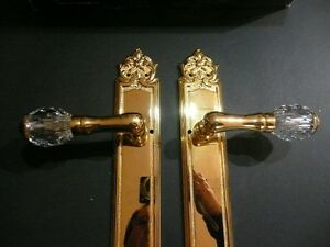 24K Gold plated door levers with Swarovski