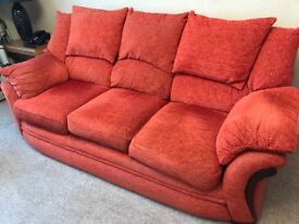 Two and three seater sofas with matching curtains