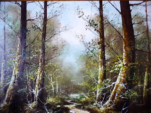 """Forest Landscape Painting by Carl Madden """"Forest Road"""" 1970's Stratford Kitchener Area image 2"""
