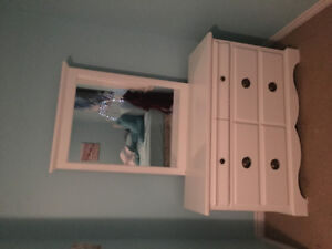 Solid wood dresser with mirror and nightstand, Canadian made