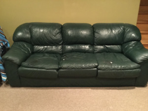Leather couch and chair.