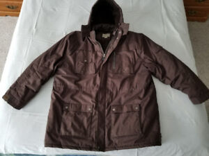 Men's Lined Winter Coat with Hood - Size 3XL