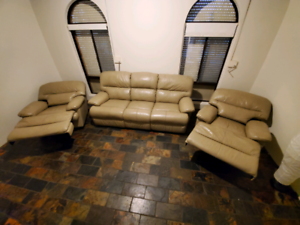 IMAGE Genuine cow hide cream leather, 3 seater 2 recliners $690