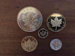 """""""GOLD"""" set of 5 gold coloured coins"""