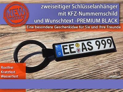Zweiseitiger Schlüsselanhänger mit Wunschtext, Geschenkidee, KFZ, PREMIUM BLACK