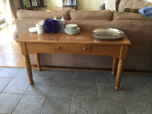 Oak sofa table & teak hutch $50 each