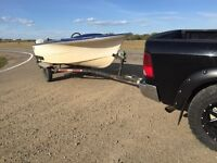 14'boat trailer and 9.5hp inverude engine