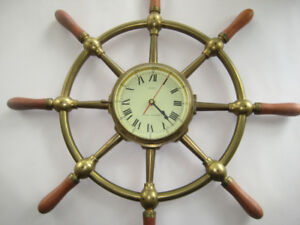 Solid-brass vintage ship helm wall clock