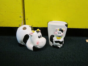 Ceramic Cow Cups and Toothbrush holder