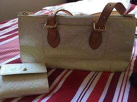 Cream Louis Vuitton (Genuine) evening bag & matching purse.