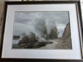 Framed photograph of waves during Storm Barney