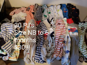 30 Baby Boy Pajamas • Size NB to 6 months • All for $15