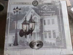 BRAND NEW Hampton Bay Outdoor Lamp Post with 2 Wall Lanterns