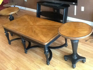 coffee table and two end tables plus two lamps