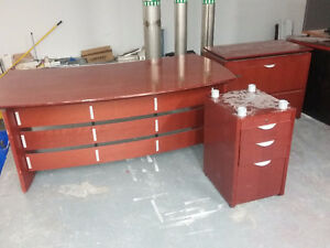 Cherry wood office desk + matching furniture