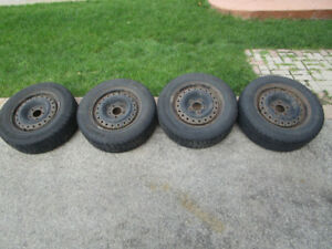 SNOW TIRES AND RIMS 205 65 R15 5 BOLT CHEVROLET
