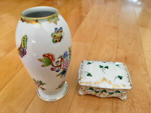 Herend Hungary Porcelain Vase and Box with Lid