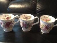 Three Royal Albert bone china cups, Feb March & april