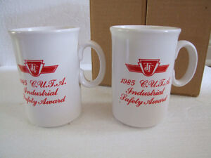 BRAND NEW SET OF 2 VINTAGE TTC 1985 INDUSTRIAL SAFETY COFFEE MUG London Ontario image 1