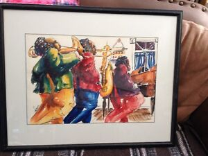 Large framed watercolour - signed