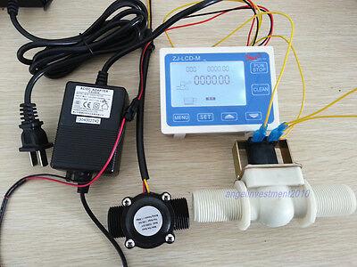 """NEW 1"""" Water Flow Control LCD Meter + Flow Sensor Solenoid valve Power Adapter"""