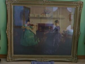 Marguerite S.Pearson lithograph of ladies playing piano & violin
