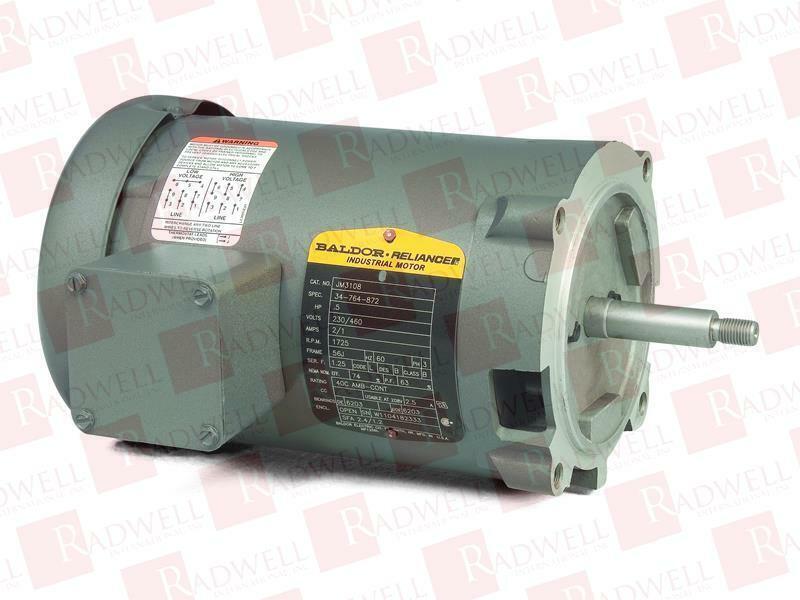 3 PHASE INDUSTRIAL MOTOR BALDOR 3450RPM 1//2 HP 208-230//460V HM3107