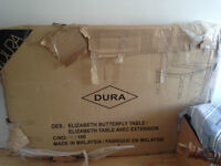 DURA BUTTERYFLY DINING TABLE, OAK WOOD, BRAND NEW IN THE BOX