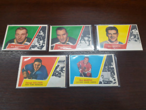 1963-64 Topps Hockey Cards Lot of 5