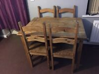 Mexican pine table and 4 chairs ideal to shabby chic FREE local plymouth delivery @ full price £65