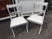 Pair of painted grey shabby chic dining chairs