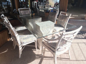 Art Deco White Wicker Glass Dining Room Table and Chairs