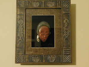 African Mask in Glass Frame