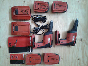 3 Hilti drywall guns {2 are cordless with all accessories}