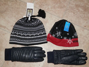 Leather ski gloves and 2 new hats