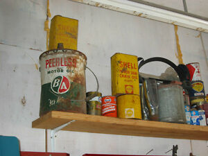 OLD oil cans Esso, B/A, Gulf Atlas products, Coke & tobacco cans