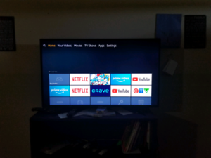 Smart tv with remote and mount