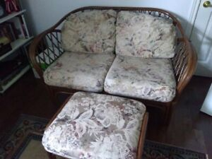Rattan Couch and  Ottoman combo OR BEST OFFER