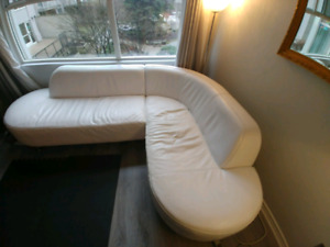 Stylish white leather Urban Barn couch