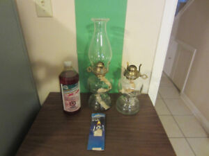 Two Decorative Glass Oil Lamps, one with Chimney, Fuel, Wicks