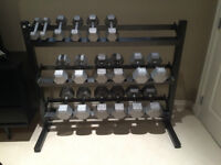 Free Hand Weights with Storage Rack