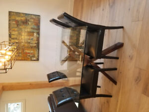Modern Glass Dining Table + Chairs